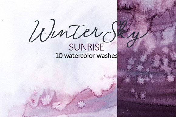 Purple Watercolor Washes
