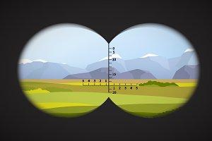 View from binoculars on landscape