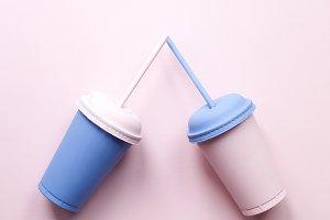 Plastic cups. Fast food
