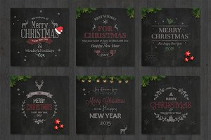 6 Christmas Chalk Cards