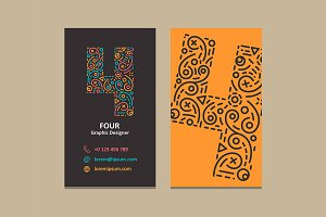 Number 4 Logo Business card