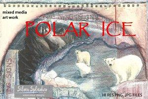 Polar Ice mixed media art