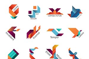Origami business logo set