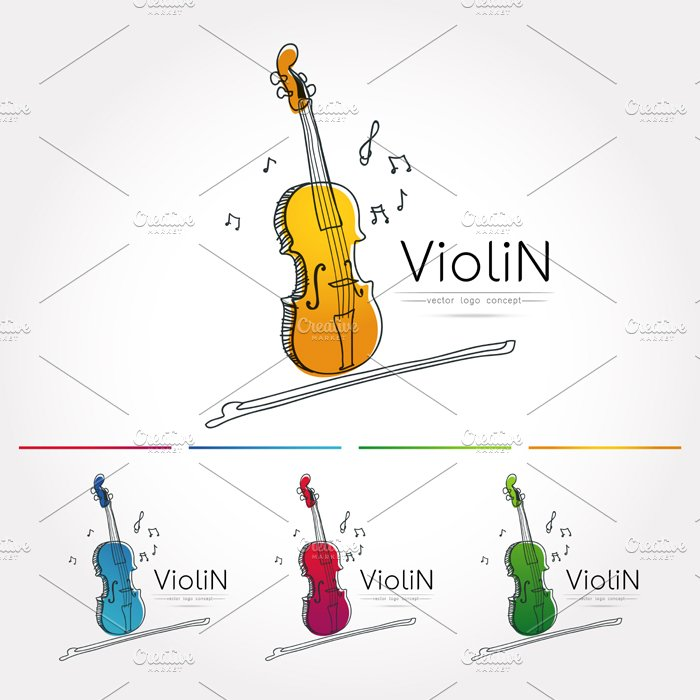 The stylized image of Violin ~ Logo Templates ~ Creative Market