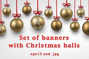 Set of banners with Christmas balls