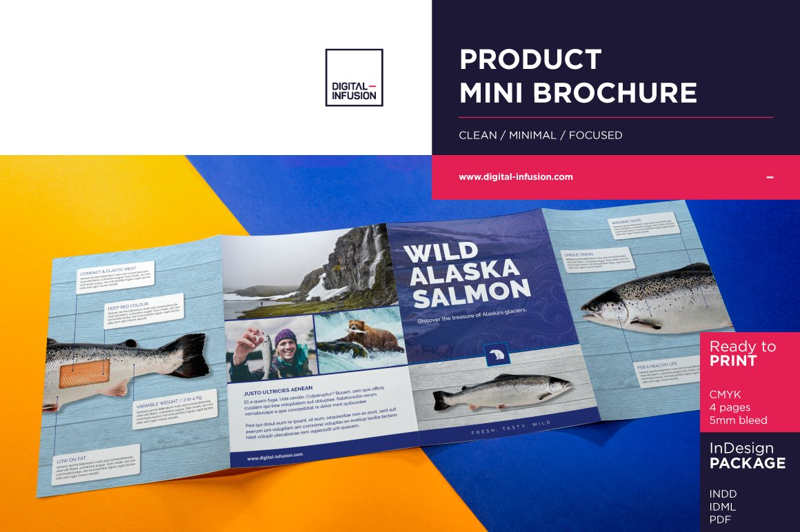 Product mini brochure flyer templates creative market for Mini brochure template