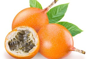Passion fruit one a white background