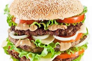 Tasty hamburger on white background.