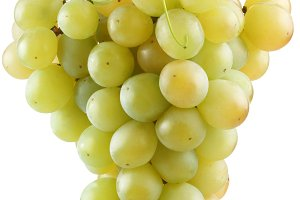 Bunch of grapes on a white