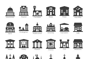 City map objects iconset