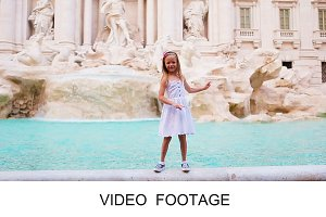 Happy kid background Trevi Fountain