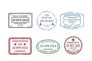 Passport visa stamps set