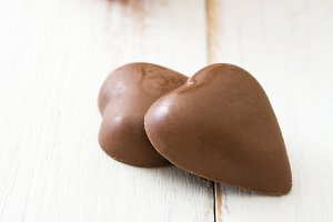 Chocolate bonbons with heart shape