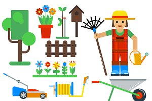 Gardening tools vector icons