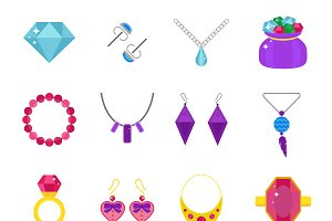 Jewelry vector flat icons