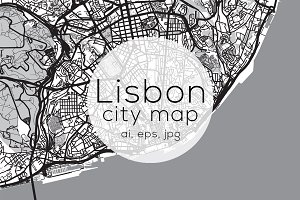Lisbon city map - Mono edition