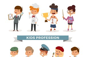 Cute cartoon professions kids vector