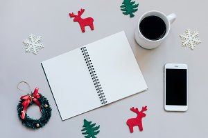 Christmas items and notebook