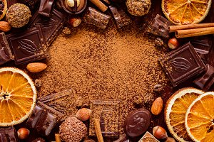 Frame of chocolates and candies