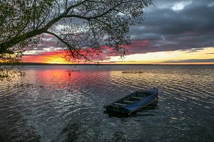 lonely boat ashore