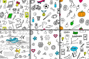 Hand drawn seamless pattern set