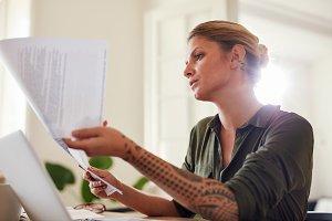 Woman  going through paperwork