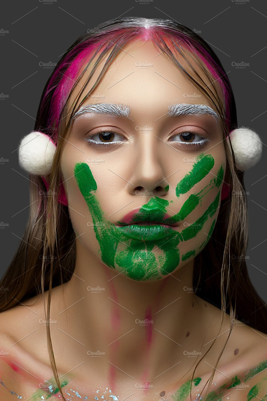 Beautiful Young Woman With Clean Fresh Skin Pink Makeup And Handprint Green Paint Beauty