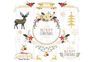 Gold Christmas Floral Design Element