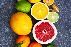 Fresh assorted citrus fruits