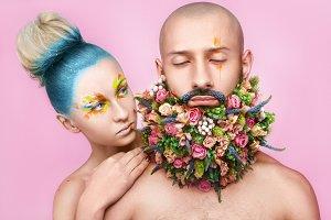 makeup flowers and beard man