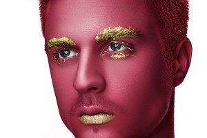 Man with creative pink make up