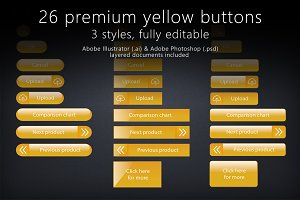 26 glossy yellow gold buttons