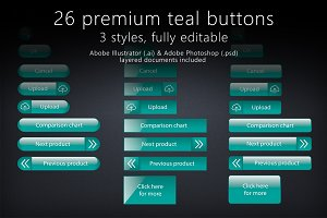 26 glossy teal buttons
