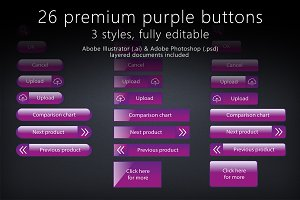 26 glossy purple buttons