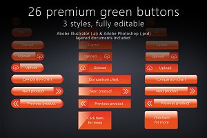 26 glossy orange buttons