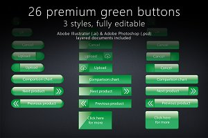 26 glossy green buttons
