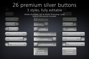 26 glossy silver buttons
