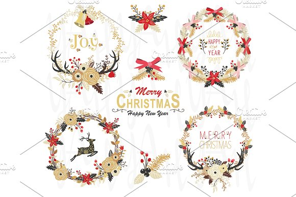 Gold Floral Christmas Wreath Element