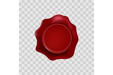 Red wax stamp with blank space.