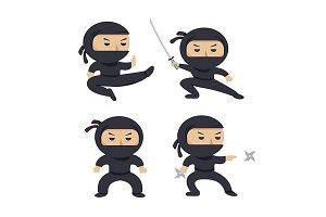 Set of ninja characters.Flat style.