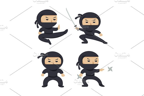Set of ninja characters.Flat style. - Illustrations