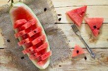 Fresh sliced watermelon