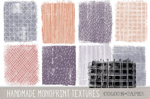 Monoprint Textures, Clipart. Brushes