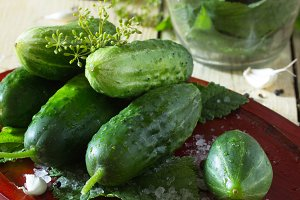 fresh and pickled cucumbers