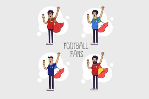 National football teams fans set.