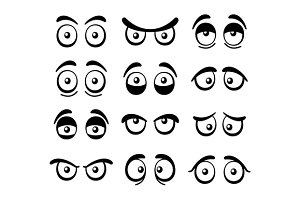 Comic Cartoon Eyes Set