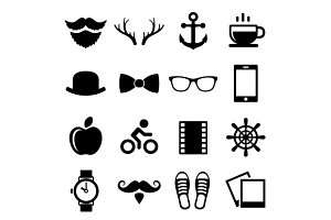 Hipster Icons and Logos Set