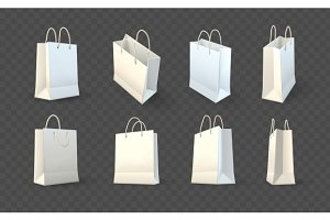 Set of paper shopping bags packaging
