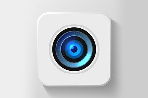 Blue Camera Lens Icon