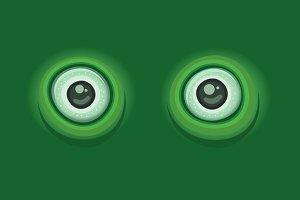 Cartoon Eyes on Green Background